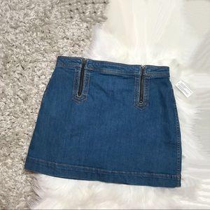 Pilcro and the Letterpress Zipper Denim Skirt A17